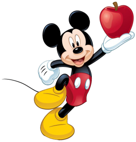 Mickey  Mouse Apple On Hand PNG