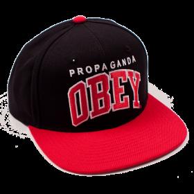 Obey Black Letter Cap Snapback Hat PNG