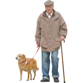 Old man goes for a walk with dog PNG
