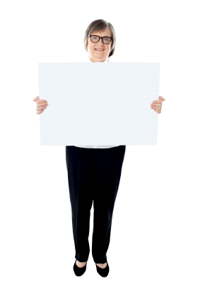 Old Women Holding Banner PNG