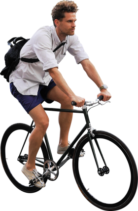 On His Bike PNG