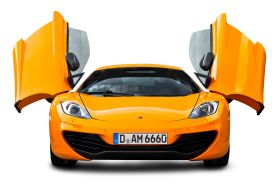 Orange McLaren 12C Front View Car PNG