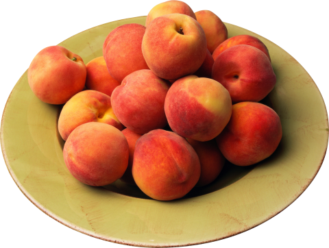 Peaches on a plate PNG