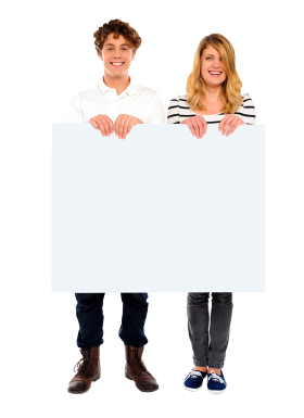 People Holding Banner PNG