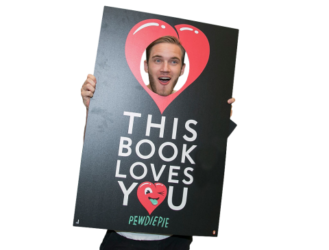 Pewdiepie Holding Sign PNG