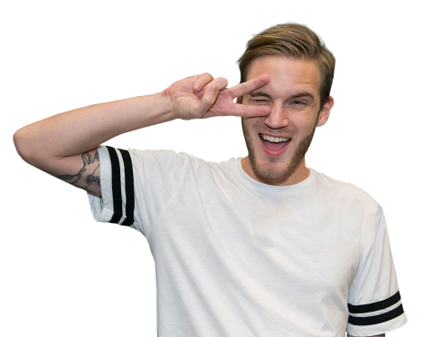 Pewdiepie in a white shirt PNG