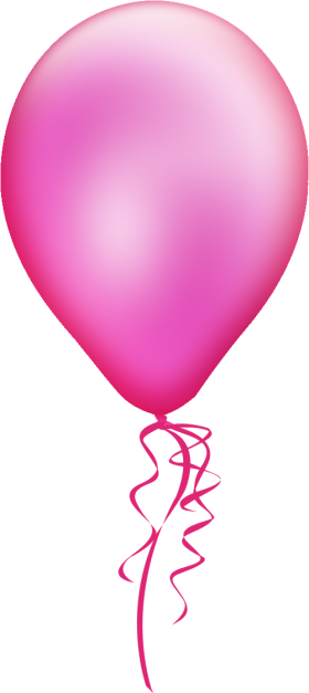 Pink Party Balloon with Bow PNG
