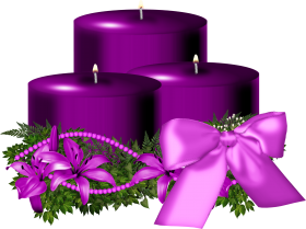 Tree Purple Christmas Candle Decorated PNG