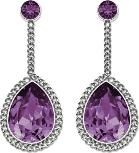 Purple  Diamond Earrings PNG