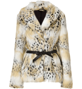 Rachel Zoe Tonal Cream Cheetah Faux Macgraw Jacket PNG