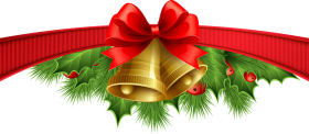 Christmas Bow with Mistletoe and Bells PNG
