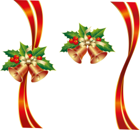 Bell Ribbon Christmas with Mistletoe  PNG