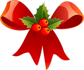Red Ribbon Christmas with Mistletoe PNG