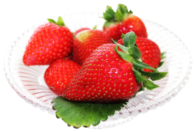 Red Strawberry in white plate PNG