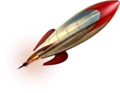 Red-white Steel Rocket PNG