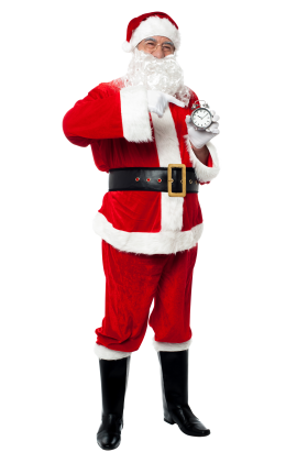 Santa Claus Pointing on Clock PNG