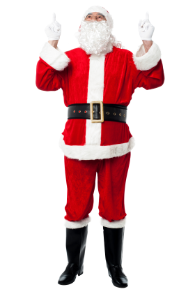 Santa Claus Holding Two Fingers Up PNG