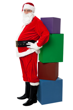 Santa Claus with Four Boxes PNG