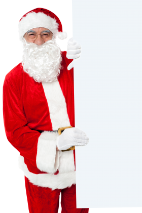 Santa Claus Holding White Paper Vertical PNG