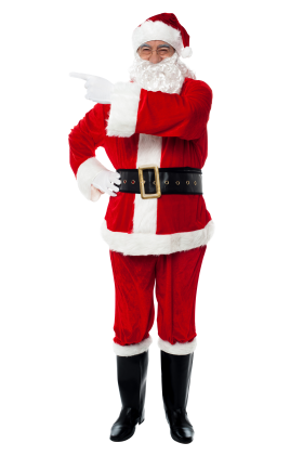 Santa Claus Points Left PNG