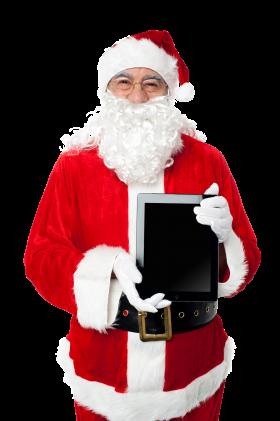 Santa Claus Holding iPad PNG