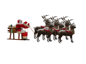 Santa Claus in Sleigh with Reindeers PNG