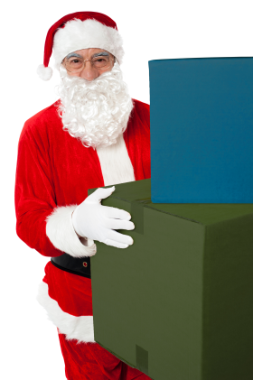 Santa Claus Holding Boxes PNG