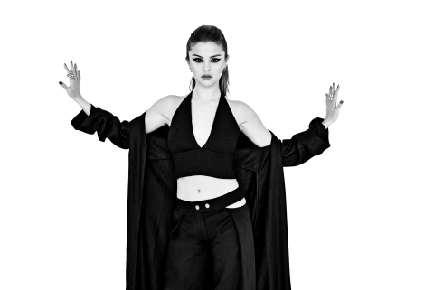 Selena Gomez Black and White PNG