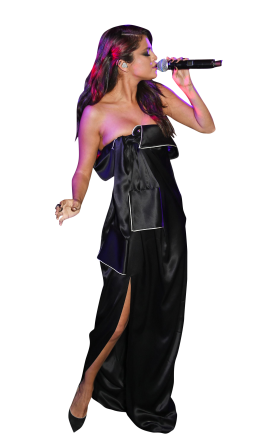 Selena Gomez Black Dress Singing PNG