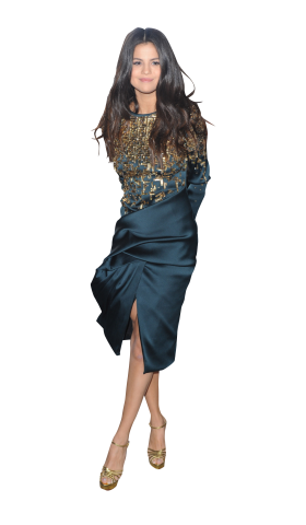 Selena Gomez Blue Dress PNG