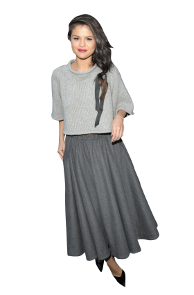 Selena Gomez Grey Dress PNG