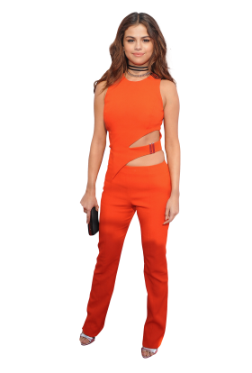 Selena Gomez in a red Dress PNG