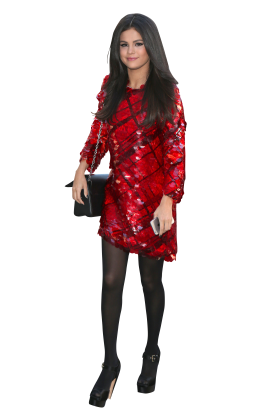 Selena Gomez in Red Dress and Black Pantyhose PNG