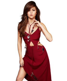 Selena Gomez Red Dress PNG