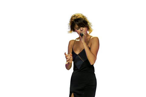 Selena Gomez Singing on Stage PNG