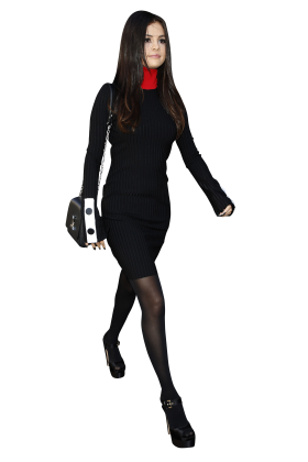 Selena Gomez Walking in Black PNG
