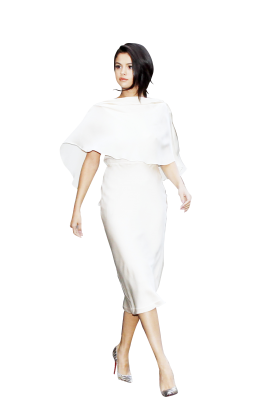 Selena Gomez White Dress PNG