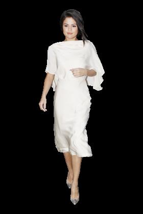 Selena Gomez White Dress PNG