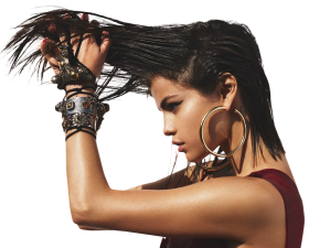 Sexy Selena Gomez holding her Hairs PNG