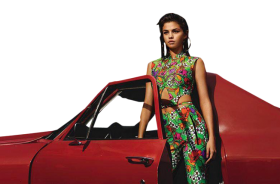 Sexy Selena Gomez next to a car PNG