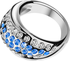 Silver Ring  With Blue Diamond PNG