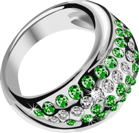 Silver Ring  With Green Diamond PNG