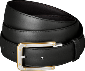 Slim Black Belt With Golden Buckles PNG