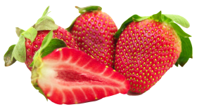 Strawberries  with leaf  and Sliced PNG
