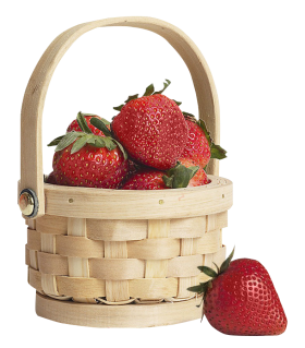 Strawberry  in Basket PNG