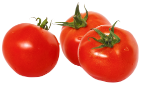 Three Tomatoes with Green Leaves PNG