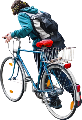 Walking With His Bike PNG