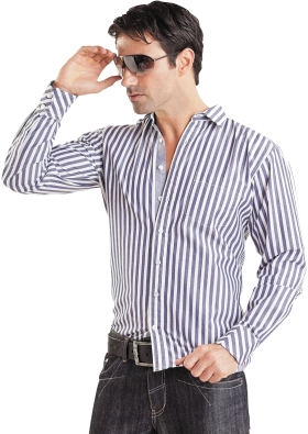 White & Cyan Strip Long Dress Shirt PNG