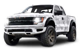White Ford F 150 Raptor SUV Car PNG