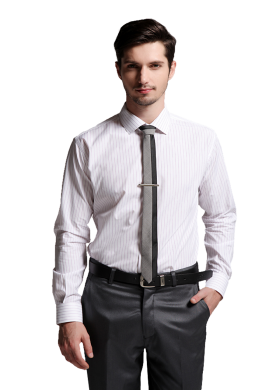 White Full Shirt With Pink Strip & Stylish Tie PNG